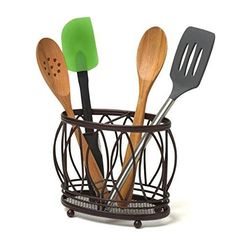 Restaurant Kitchen Utensils: Spectrum 99724 Leaf Utensil Holder, Bronze Home Garden Kitchen Dining Kitchen Tools Utensils