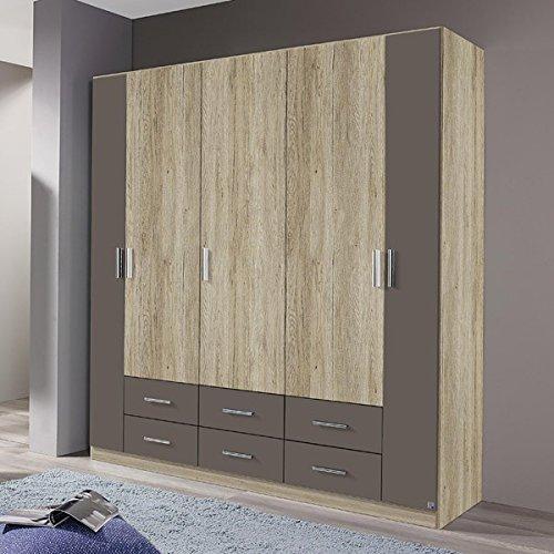 Kleiderschrank grau 5 Türen B 181 cm eiche sanremo Schrank Drehtürenschrank Wäscheschrank Spiegelschrank Kinderzimmer Jugendzimmer online bestellen