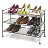 Seville Classics SHE15905 3-Tier Iron Shoe Utility Rack