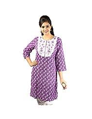 The Kurta Express Cotton Purple 3/4 Sleeve Self Print Kurti For Women