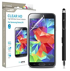 Samsung Galaxy S5 Screen Protector Sentey® Clear Hd High Definition 0.12mm (Pack of 3) Ls-14205 Bundle with Free Metal Stylus Touch Screen Pen