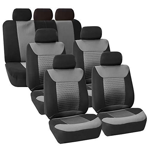 COMMART 3 Row Car Seat Covers Luxury For Van Minivan Truck (Gray) Ships from USA (Superwoman Car Mats compare prices)