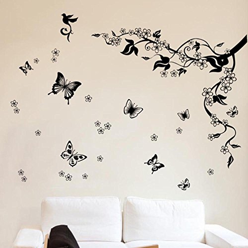 Walplus Removable Vinyl Wall Art Sticker, Dancing Butterflies and Tree Branch