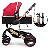 Belecoo™ Luxury Newborn Baby Foldable Anti-shock High View Carriage Infant Stroller Pushchair Pram(Red)