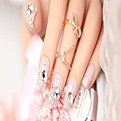 EVTECH(TM) 24 Pcs Nail Decals Floral Bowknot Pearl Diamond Rhinestone Crystal French Artificial Half False Nails Pink Nail Art Tips Fashion Style Glitters Nail Art Tool by EVTECH