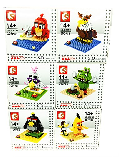 New Angry Birds Movie 2016 Party Supplies Toys Red Chuck Bomb Matilda Mighty Eagle Leonard the Pigs Diy Plush Figures Nanoblocks 6 Sets Mini Micro Nano Building Blocks Gift with Original Box