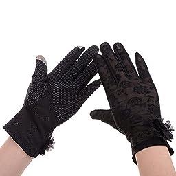 Vbiger Summer Women Touch Screen Lace Cotton Short Gloves (Black3)