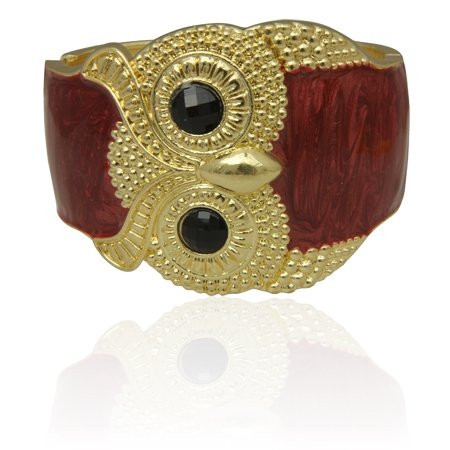 MizEllie Costume Jewellery Tawny Owl Red and Gold Tone Hinged Bangle Bracelet ,Can Make An Ideal Gift With Free Elegant Organza Jewellery Pouch