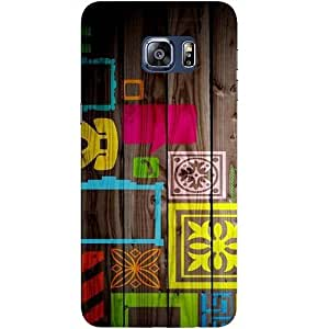 Casotec Stamps on Wooden Texture Design Hard Back Case Cover for Samsung Galaxy S6 edge Plus