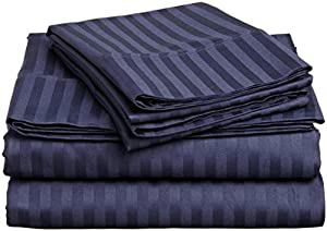 ITALIAN 1500 Thread Count 4PC STRIPED FULL Sheet Set, NAVY BLUE