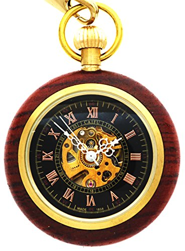 New Brand Mall Roman Copper Wood Ring Hollow Mechanical Pocket Watch Fob Steampunk Open Face Design (Jack Daniels Iphone 5 Case compare prices)