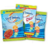 Surf Sweets Vegan Variety Pack, 2.75 Ounce (Pack of 12 - 4 Each of Sour Worms, Watermelon Rings and Fruity Bears)