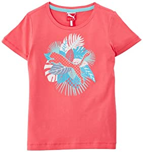 Puma T-Shirt Fille Calypso Coral FR : 10 (Taille Fabricant : 140)