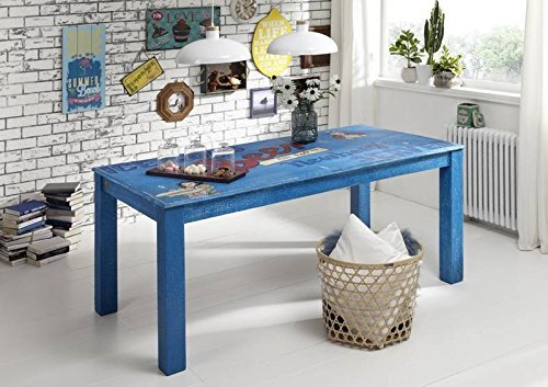 Legno massello di Mango mobili laccato Vintage tavolo da pranzo 140 x 90 legno di Mango massiccio Möbel multicolore Painted #09