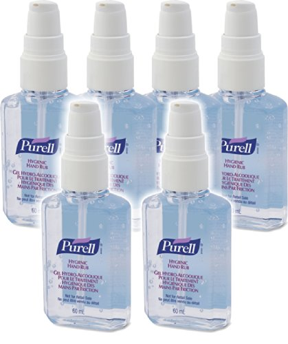 6 X Purell Hygenic Hand Sanitizer Gel / Rub 60Ml Personal Pump Bottles