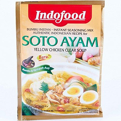Indofood Soto Ayam, di colore Giallo Chiaro Brodo di Pollo, 45 grammo (pacchetto di 3)