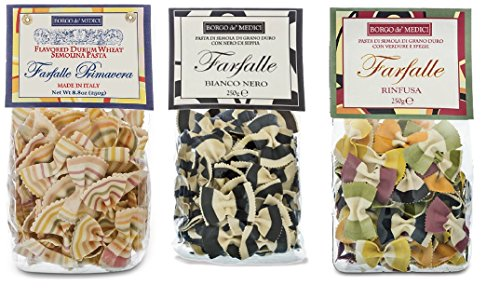 Bowtie Pasta Bundle of Three Multicolored 8.8 OZ Bags: Rinfusa, Black and White, Primavera (Bow Pasta compare prices)