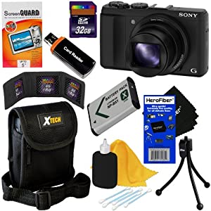 Sony DSC-HX50V/B 20.4MP Digital Camera with Built-in Wi-Fi, 30x optical zoom & Full HD 1080/60p Video (Black) + NP-BX1 Battery + 8pc Bundle 32GB Accessory Kit w/ HeroFiber® Ultra Gentle Cleaning Cloth