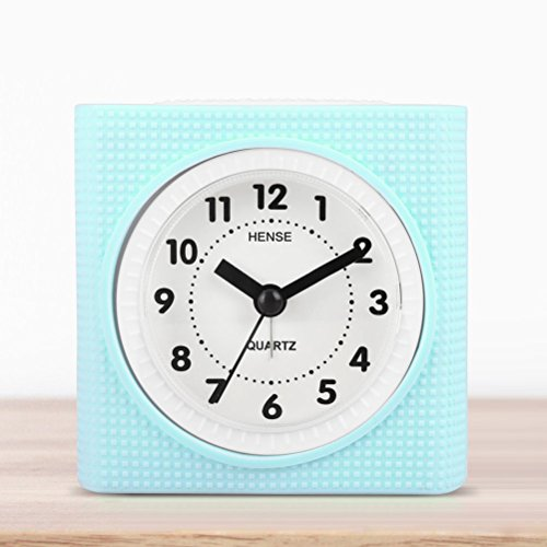 Hense Silica gel Lovely Colorful Cartoon Child Mute Quartz Movement Non ticking Needle alarm clock with nightlight HA19 (Sky Blue)