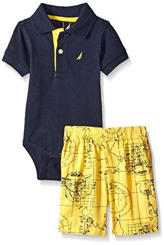 Nautica Baby 2 Piece Bodysuit Short Set, Sport Navy, 3/6 Months
