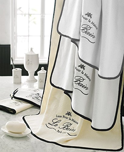 Kassatex Stylishly Trendy, High Quality, 100% Egyptian Cotton Le Bain Collection Bath Towels (Tubmat, White/Black) Bain Bath