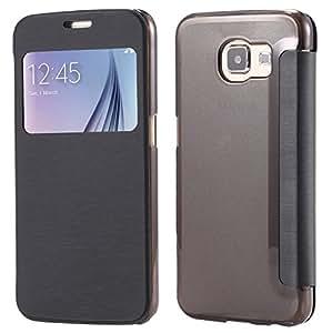 Galaxy S6 Case, SAWE [Smart Window View] Samsung Galaxy S6 Folio Wallet Case - Slim Flip Leather Case Cover For Galaxy S6 SM-G920 Case (Black)