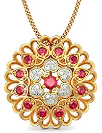 BlueStone Bloom Collection 18k Yellow Gold, Diamond And Ruby Alivia Pendant