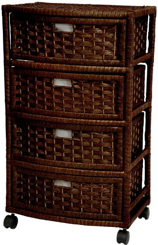 "Elegant Attractive Low Price Most Affordable Popular - 29"" Tall Natural Plant Fiber 4 Drawer Simple Storage Chest on Wheels - Mocha"