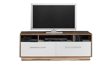 """TV - Unterschrank """"Tinlot"""" 08, Weiß / Walnuss - Abmessungen: 140 x 53 x 50 cm (B x H x T)"""