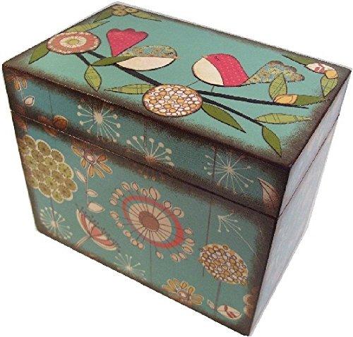 Recipe Box, Wood, Holds 4x6 Recipe Cards, Retro Mod Teal Bird, Decoupaged 1