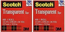 Scotch Transparent Tape, 1/2-Inch x 1296 Inches, 2 Rolls (600H2)