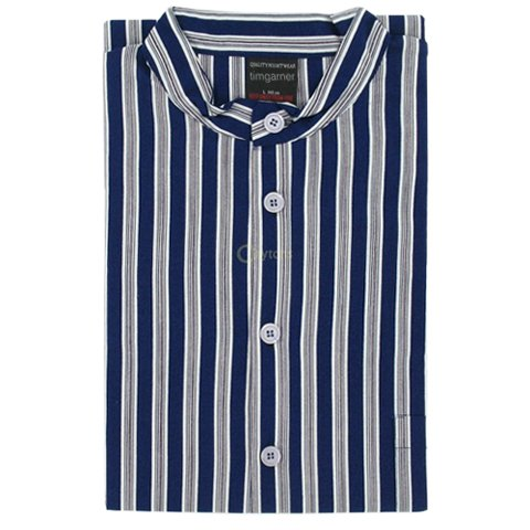 Men's Nightshirt (MCN8) - Grandad Collar Blue Stripe by The Best Nightshirt Co