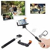 AGPtek� Monopod de Bluetooth para el iPhone con el bot�n disparador remoto extensible Self Portraits selfie palo para iPhone 5 5S 5C 4S 4 Samsung Galaxy S3 S4 S5 Nota 3 2, Negro
