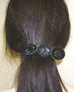Three Black Onyx Buttons on French Barrette Hair Clip for Women and Teens