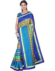 Aadarshini Women's Raw Silk Saree (110000000444, Blue & Khaki)