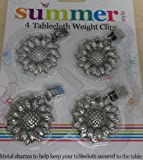 New 4 sunflower tablecloth metal weight clips chrome/ silver colour