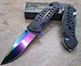 Tac-force Assisted Opening Hunting Camping Outdoor Rescue Folder Rainbow Stainless Steel Blade