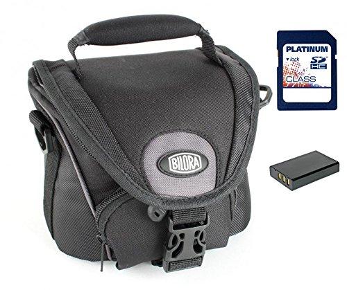 Sparset Kameratasche Bilora Ural Makro Tasche schwarz + Ersatzakku DMW-BLC12E + 8GB SD Karte für Panasonic Lumix DMC-FZ200, DMC-G5 mit14-42mm Objektiv