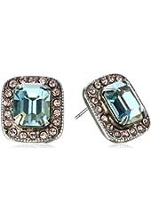 Sorrelli Sky Blue Peach Silver-Tone Rhinestone and Crystal Stud Earrings