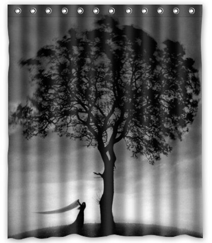 "BravoVision Fashion Custom Tree in Black and White Design Waterproof Fabric Bath Shower Curtain 60"" x 72"""