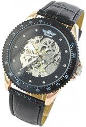 ESS Mens Black Leather Automatic Mechanical Watch Skeleton Swiss Design Man WM096