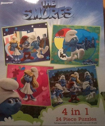 The Smurfs Pressman 4 in 1, 24 Piece Puzzles - 1