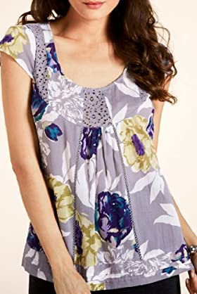 Per Una Pure Cotton Cap Sleeve Floral Blouse [T62-2741H-S]
