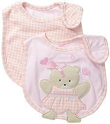 Little Me Baby-Girls Newborn 2 Pack 3D Heart Bibs, Pink, 0-12 Months