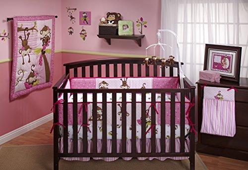 Little Bedding 3 Little Monkeys Crib Bumper, Girl
