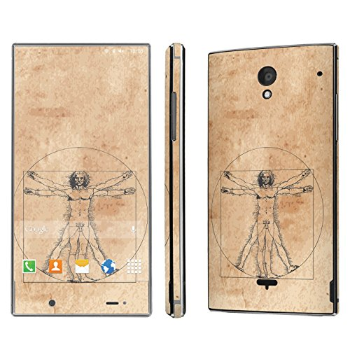 Sharp Aquos Crystal Skin [NakedShield] Scratch Guard Vinyl Skin Decal [Full Body Edge] [Matching WallPaper] - [Virtruvian Man] for Sharp Aquos Crystal (Aquos Sharp Phone Case For Men compare prices)