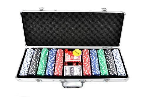 FA Sports, Valigetta per fiches da poker Pokerkoffer Casino Ocean 500 Poker Chip Set , Argento (silber), 58 x 24 x 7,5 cm [importato dalla Germania]