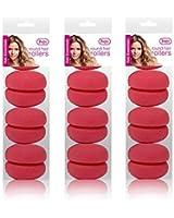 12 x Round Sleep-In Hair Rollers (3 x Packs of 4) - Create Bouncy Curls While You Sleep!