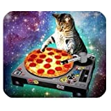 New Top Funny Space Cat and Pizza Rectangle Non-Slip Rubber...