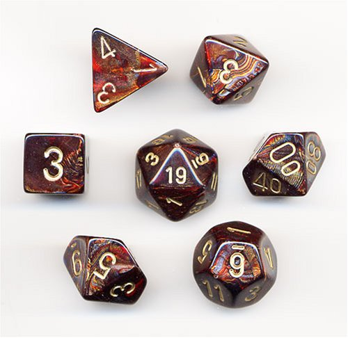 Fantastic Deal! Chessex Dice: Polyhedral 7-Die Scarab Dice Set - Blue Blood w/Gold CHX-27419